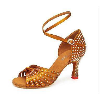 29b45f9eed0 Γυναικεία Παπούτσια χορού λάτιν Σατέν Πέδιλα Πούλιες / Αστραφτερό Γκλίτερ /  Κρυστάλλινη λεπτομέρεια Κουβανικό Τακούνι Εξατομικευμένο Παπούτσια Χορού  Χρυσό ...