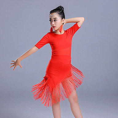9054e73c4916 Latin Dance Dresses Girls' Performance Polyester Tassel / Split Joint Half Sleeve  High Dress
