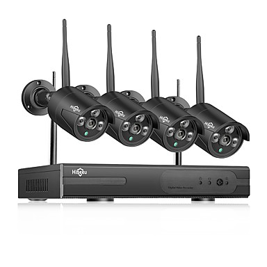 cheap Security & Safety-Hiseeu® Wireless NVR 1080P HD Outdoor Home Security Camera System 4CH CCTV Video Surveillance NVR Kit 960P Wifi Camera Set black