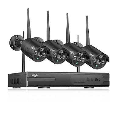 voordelige Bewaking & Beveiliging-Hiseeu draadloze nvr 1080p hd outdoor home bewakingscamera 4ch cctv videobewaking nvr kit 960p wifi camera set zwart