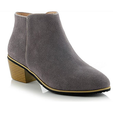 Women's Shoes Suede Fall Gray Comfort / Bootie Boots Chunky Heel Black / Gray Fall / Nude 8e0bda