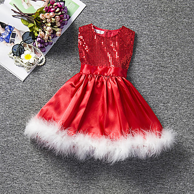 رخيصةأون ملابس الأميرات-فستان طول الركبة بدون كم ترتر لون سادة مناسب للعطلات رياضي Active / حلو للفتيات أطفال / طفل صغير / قطن