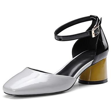 9653f94eba Mulheres Sapatos Confortáveis Pele Napa Verão Sapatos De Casamento Salto  Robusto Cinzento / Rosa claro