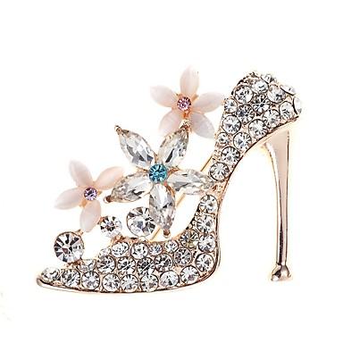 hesapli Moda Broşlar-Kadın's Broşlar 3D Ayakkabı Bayan Basit Zarif Renk fantezi Yapay Elmas Broş Mücevher Altın Uyumluluk Günlük