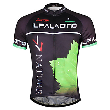 ILPALADINO Men's Short Sleeve Cycling Jersey - Black / Green Leaf Bike Jersey Top, Quick Dry Polyester Coolmax® Eco-friendly Polyester / Stretchy