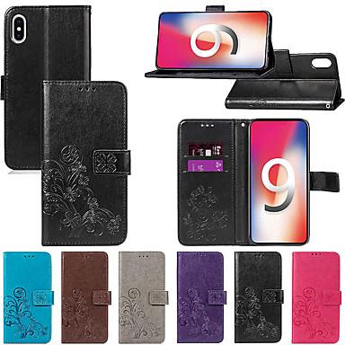 hesapli iPhone Kılıfları-Pouzdro Uyumluluk Apple iPhone XS / iPhone XR / iPhone XS Max Cüzdan / Kart Tutucu / Satandlı Tam Kaplama Kılıf Solid / Mandala / Kelebek Sert PU Deri