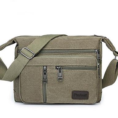 3e76695e87 Men s Bags Canvas Shoulder Bag Zipper Solid Color Brown   Army Green   Khaki