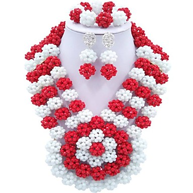 billige Smykke Sett-Dame Multi Layer Smykkesett - damer, Mote Inkludere Strands halskjede Rød / Grønn / Sjokkrosa Til Fest Daglig / Øreringer