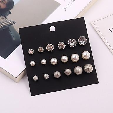 f3727998f700 Mujer Elegante Pendientes cortos Pendientes Set Perla Artificial Brillante Aretes  Bola damas Simple Europeo Moda Joyas