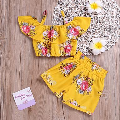 رخيصةأون أطقم ملابس البنات-مجموعة ملابس قصيرة قصيرة بدون كم طباعة ورد دوار الشمس بوهو للفتيات أطفال