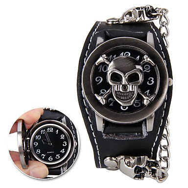51c036c86fa Homens Relógio de Pulso Digital Preta Relógio Casual Legal Analógico Caveira  Fashion - Preto