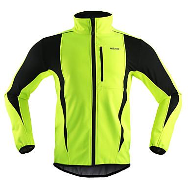 Arsuxeo Per uomo Giacca da ciclismo Bicicletta Giacca di pelle / Inverno Giacche in pile / Fleece / Top Antivento, Tenere al caldo, Traspirante Strisce Poliestere, Elastene, Vello Inverno Arancione