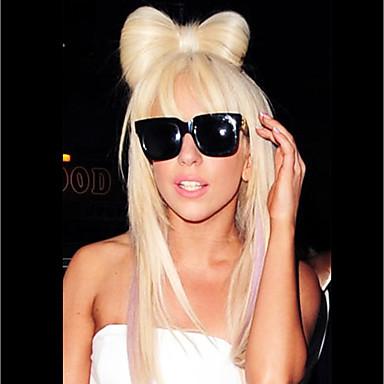 billige Kostymeparykk-Syntetiske parykker Rett Gaga Stil Lagvis frisyre Lokkløs Parykk Blond Bleik Blond Syntetisk hår 24 tommers Dame syntetisk Blond Parykk Lang
