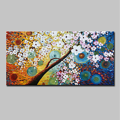 cheap Wall Art-Oil Painting Hand Painted - Abstract / Floral / Botanical Modern Canvas