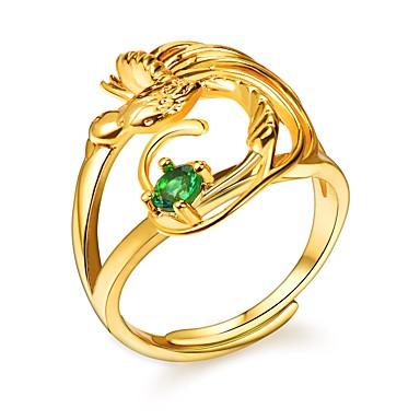 abordables Bague-Anneau réglable anneau enveloppant Femme Zircon cubique Vert Cuivre Oiseau dames Romantique Mode Bagues Tendance Bijoux Dorée pour Fiançailles Cadeau 1pc