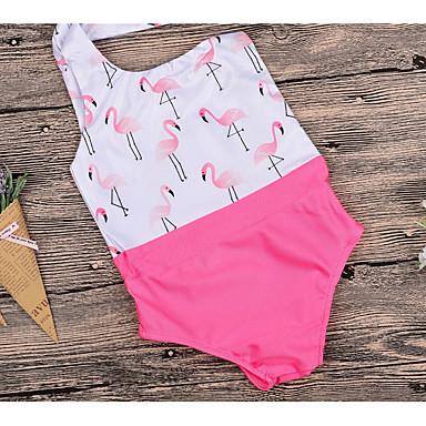 baratos Roupas de Banho para Meninas-Infantil Para Meninas Básico Esportes Sólido Floral Patchwork Algodão Roupa de Banho Rosa