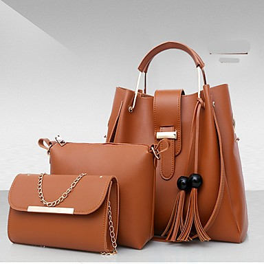 c729c81c0a2a Women s Bags PU(Polyurethane) Bag Set 3 Pcs Purse Set Solid Color Red    Blushing Pink   Khaki