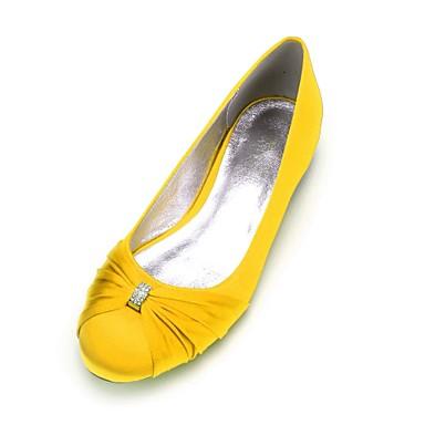 povoljno Ženske cipele-Žene Vjenčanje Cipele Balerinke Ravna potpetica Okrugli Toe Štras Saten Uglađeni Proljeće ljeto Burgundac / Svjetlosmeđ / Kristalne / Zabava i večer