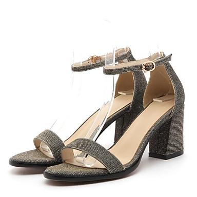 رخيصةأون صنادل نسائية-نسائي صنادل أحذية الراحة كتلة كعب Leather نابا الصيف رمادي / بني / خمر