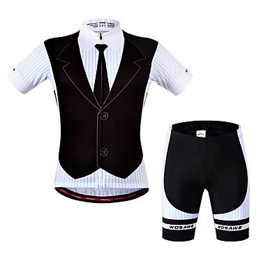 WOSAWE Kurzarm Fahrradtriktot mit Fahrradhosen - Schwarz Fahhrad Shorts / Laufshorts / Trikot / Radtrikot / Gepolsterte Shorts, 3D Pad, Rasche Trocknung, Anatomisches Design Polyester, Elasthan