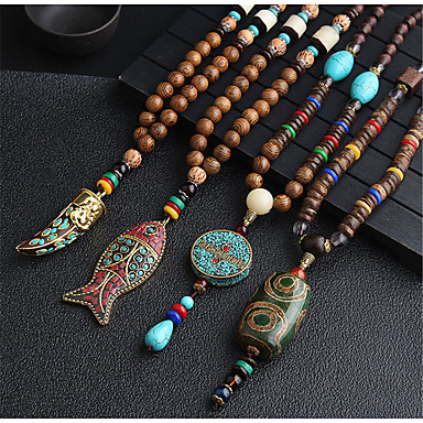 abordables Collier-Collier Pendentif Colliers Fantaisie Collier Femme Long Perles Résine Animal dames Mode Bohème Rome antique Cool Dorée Argent Rouge / Bleu 80 cm Colliers Tendance Bijoux 1pc pour Quotidien Plein Air