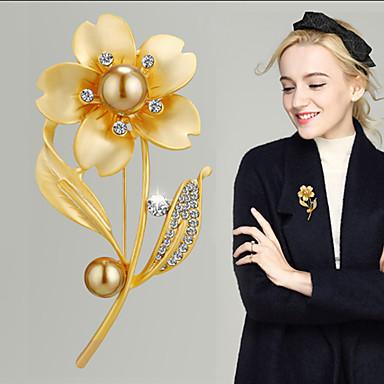 hesapli Moda Broşlar-Kadın's Kristal Broşlar Klasik Çiçek Bayan Lüks Koreli Zarif Avusturya Kristali Broş Mücevher Altın Gümüş Uyumluluk Düğün Nişan Gece Partisi Balo Söz vermek Festival