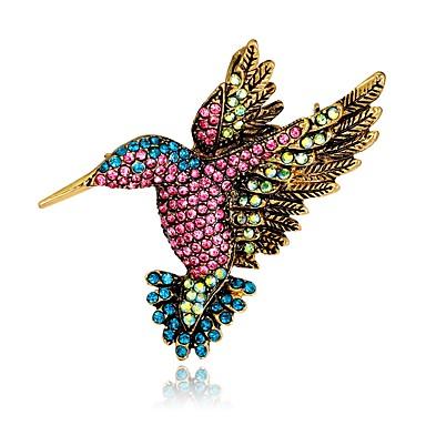 voordelige Broches-Dames Vintagestijl 3D Broches Strass Verguld Vogel Dier Dames Uniek ontwerp Vintage Broche Sieraden Regenboog Voor Avond Feest Straat