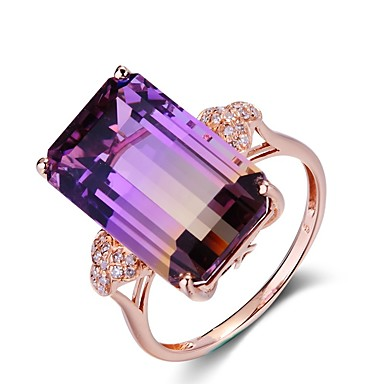 cheap Rings-Women's Ring Amethyst 1pc Rose Gold Copper Rectangle Ladies / Elegant Wedding / Party / Gift Costume Jewelry