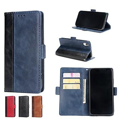 Pouzdro Uyumluluk Apple iPhone X / iPhone 8 Plus / iPhone 8 Cüzdan / Kart Tutucu / Satandlı Tam Kaplama Kılıf Solid Sert PU Deri