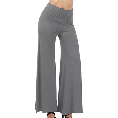 28e00a96f3 Women's Palazzo Wide Leg Yoga Pants Sports Solid Color Cotton High Rise  Bottoms Zumba Dance Running