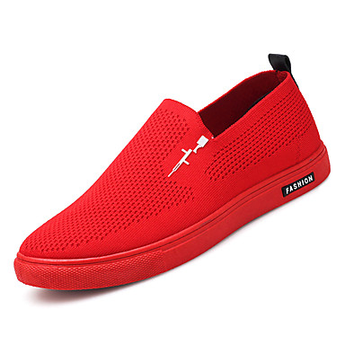 Men's Comfort Shoes Mesh / Elastic & Fabric Fall Casual Loafers & Elastic Slip-Ons Non-slipping Black / Gray / Red 626f62
