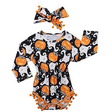 billige Halloweensalg-Baby Jente Grunnleggende Trykt mønster Langermet Body Oransje