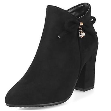 povoljno Ženske čizme-Žene Čizme Fashion Boots Kockasta potpetica Zatvorena Toe Brušena koža Čizme gležnjače / do gležnja Zima Crn / Dark Blue / Crvena