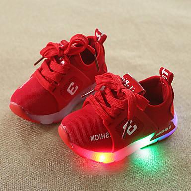voordelige Babyschoenentjes-Jongens / Meisjes Comfortabel / Oplichtende schoenen Netstof Sneakers Peuter (9m-4ys) / Little Kids (4-7ys) Veters / LED Grijs / Rood / Roze Lente & Herfst