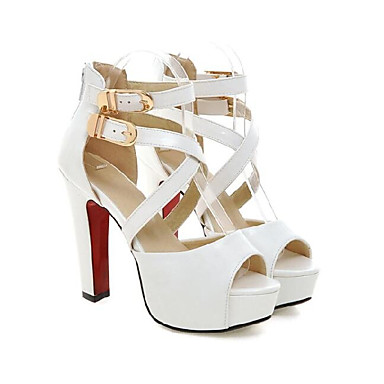 Femme Chaussures de confort Polyuréthane Eté Sandales Talon Bottier Blanc / Noir
