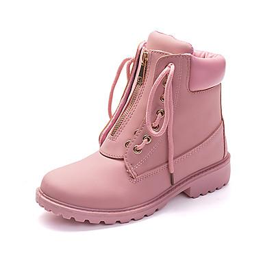 povoljno Ženske čizme-Žene Čizme Udobne cipele Niska potpetica Okrugli Toe Eko koža slatko / minimalizam Jesen zima Svjetlo siva / Pink / Deva / Prugasti uzorak