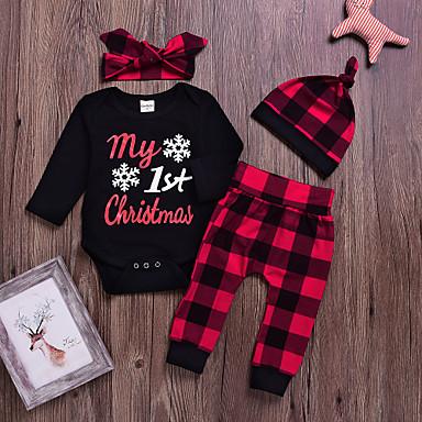 7933aeb2d0b Μωρό Κοριτσίστικα Βασικό Χριστούγεννα / Καθημερινά Στάμπα Στάμπα  Μακρυμάνικο Κανονικό Κανονικό Βαμβάκι Σετ Ρούχων Μαύρο / Νήπιο