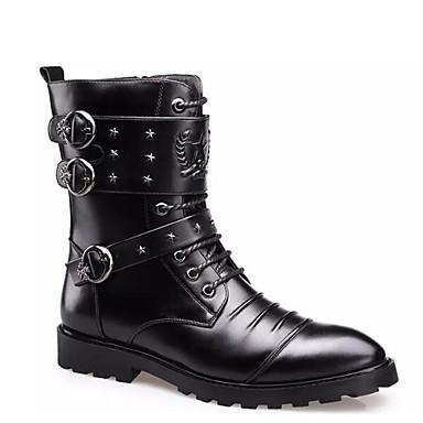Men's Winter Comfort Shoes Nappa Leather Winter Men's Boots Mid-Calf Boots Black 2ffb6f