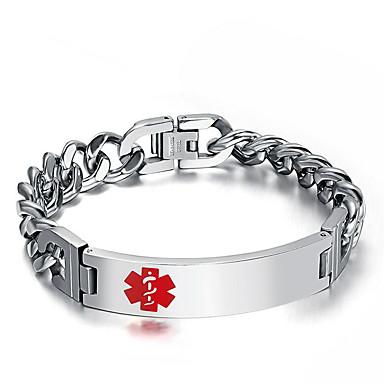 voordelige Herensieraden-Heren Armband Schakelketting Europees modieus Titanium Staal Armband sieraden Zilver Voor Straat / Platina Verguld