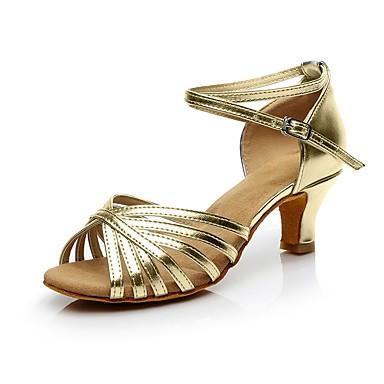 baratos Shall We® Sapatos de Dança-Mulheres Sapatos de Dança Couro Ecológico Sapatos de Dança Latina Salto Salto Cubano Personalizável Dourado / Prateado