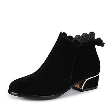 Rond Talon Doux Boots Faux Cuir Femme Preppy Hiver Fashion Bottes S8Fx1