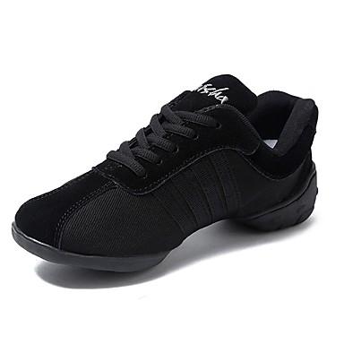 baratos Super Ofertas-Mulheres Sapatos de Dança Lona Tênis de Dança Recortes Têni Sem Salto Personalizável Preto / Espetáculo / EU39