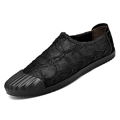 Men's Comfort Shoes Faux Leather & / PU(Polyurethane) Fall Loafers & Leather Slip-Ons Black / Brown / Khaki 33a47a