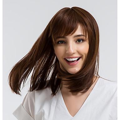 Human Hair Capless Wigs Human Hair Straight Bob Haircut Natural Hairline Brown Capless Wig Women's Daily Wear
