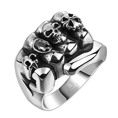 billige Statement Ringe-Herre Vintage Stil 3D Indgraveret Band Ring Statement Ring Titanium Stål Kreativ Vintage Punk Motering Smykker Svart Til Daglig Gate 9 / 10