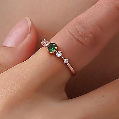 billige Motering-Dame Ring / Tail Ring Krystall 1pc Hvit / Grønn / Rosa Messing / Fuskediamant Sirkelformet damer / Enkel / Koreansk Daglig / Ut på byen / Klubb Kostyme smykker