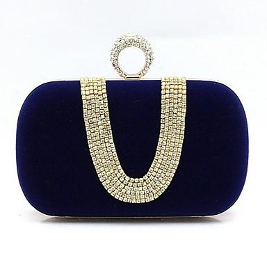billige Vesker-Dame Krystalldetaljer Ruskind Aftenveske Rhinestone Crystal Evening Bags Svart / Vin / Lilla