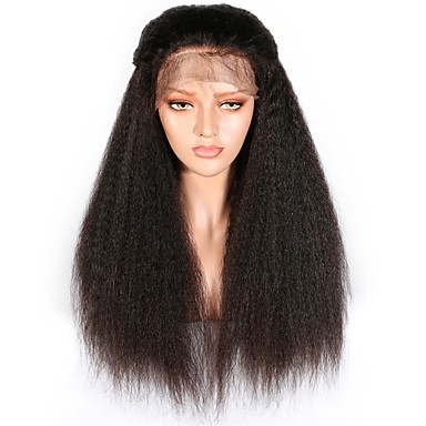 cheap Human Hair Wigs-Human Hair Lace Front Wig style Brazilian Hair Burmese Hair Yaki Straight Natural Black Wig 130% Density with Baby Hair Women Easy dressing Best Quality Hot Sale Natural Natural Black Women's Long