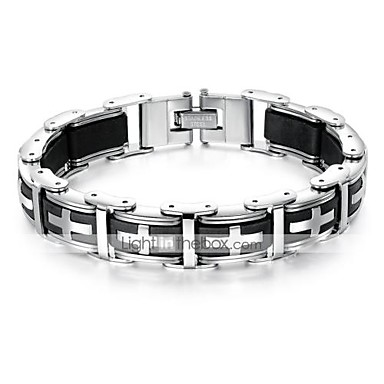 levne Dámské šperky-Pánské Link / řetězec Boční kříž Náramek s hologramem Náramek Titanová ocel Haç stylové Jedinečný design Moderní počáteční šperky Náramky Šperky Černá Pro Denní Street
