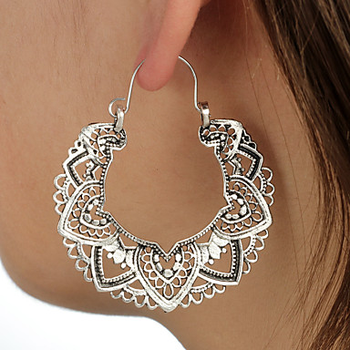 cheap Earrings-Women's Hollow Out Drop Earrings Earrings Totem Series Petal Ladies Luxury Vintage Ethnic Jewelry Silver For Party / Evening Ceremony 1 Pair